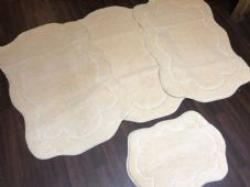 ROMANY WASHABLES THICK SET OF 4PC NON SLIP GERMAN DESIGNS LARGE SIZE CREAM/IVORY